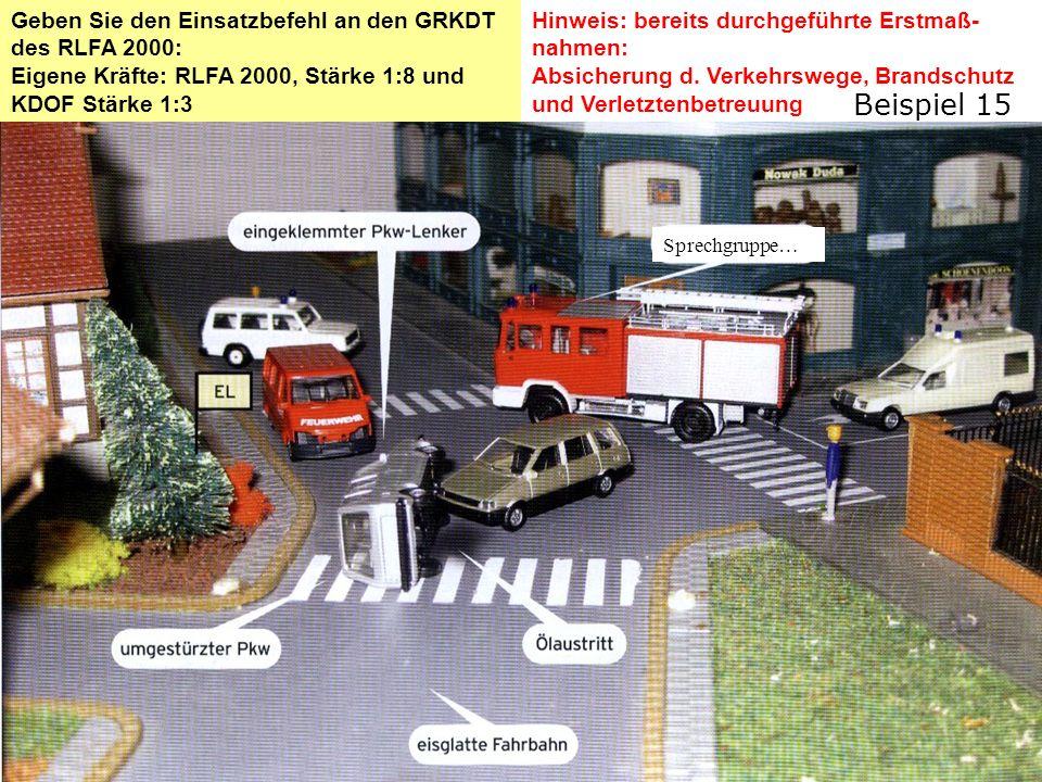 Lösung: Einsatzbefehl Schadenslage Verkehrsunfall mit 2 PKW Lenker im umgestürzten PKW eingeklemmt, Ölaustritt Eigne LageZur Rettung steht uns das RLFA 2000 und das KDOF mit 13 Mitgliedern zur Verfügung.