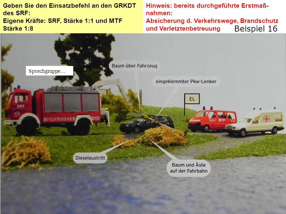 Lösung: Einsatzbefehl Schadenslage Verkehrsunfall umgestürzter Baum auf PKW Lenker im PKW eingeklemmt, Dieselaustritt Eigne LageZur Rettung steht uns das SRF und das MTF mit 11 Mitgliedern zur Verfügung.