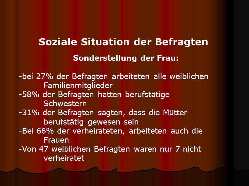 Soziale Situation der Befragten Familienstand: -59% der Personen waren verheiratet -2% verwitwet oder geschieden -38% waren ledig -Das durchschnittlic