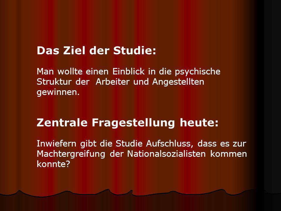 Zur Studie Die Studie wurde in Zusammenarbeit mit Anna Hartoch, Herta Herzog und Ernst Schachtel durchgeführt. Wichtige Beiträge leisteten darüber hin