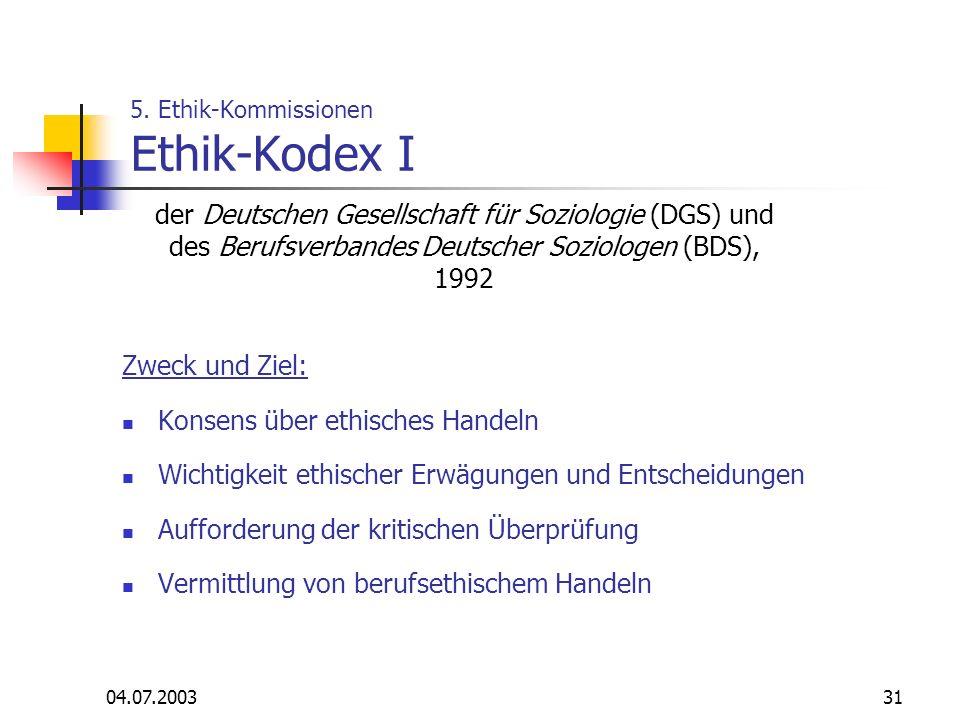 04.07.200331 5. Ethik-Kommissionen Ethik-Kodex I Zweck und Ziel: Konsens über ethisches Handeln Wichtigkeit ethischer Erwägungen und Entscheidungen Au