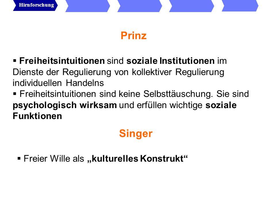 Wolfgang Prinz: freier Wille als soziale Institution freier Wille ist soziale Institution Wozu die Institution eines Selbsts mit Freiheitsintuitionen.