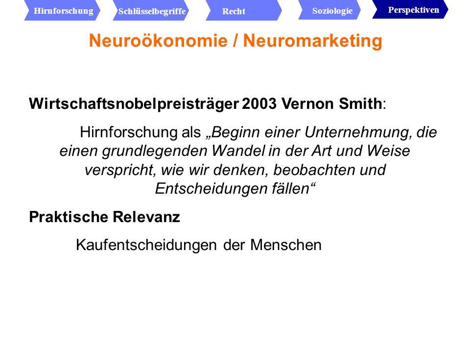 Uni Münster: Zusammenschluss von 1.Mitgliedern der Klinik und Poliklinik für Neurologie, 2.des Instituts für Klinische Radiologie und 3.des Instituts für Handelsmanagement und Netzwerkmarketing Wollen sich zur Speerspitze der Neuroökonomie entwickeln Neuroökonomie / Neuromarketing Hirnforschung RechtSchlüsselbegriffe Soziologie Perspektiven