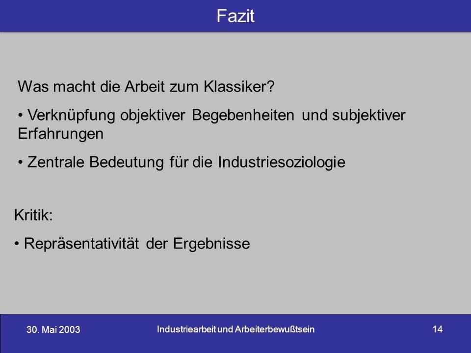 30. Mai 2003 Industriearbeit und Arbeiterbewußtsein14 Fazit Was macht die Arbeit zum Klassiker? Verknüpfung objektiver Begebenheiten und subjektiver E