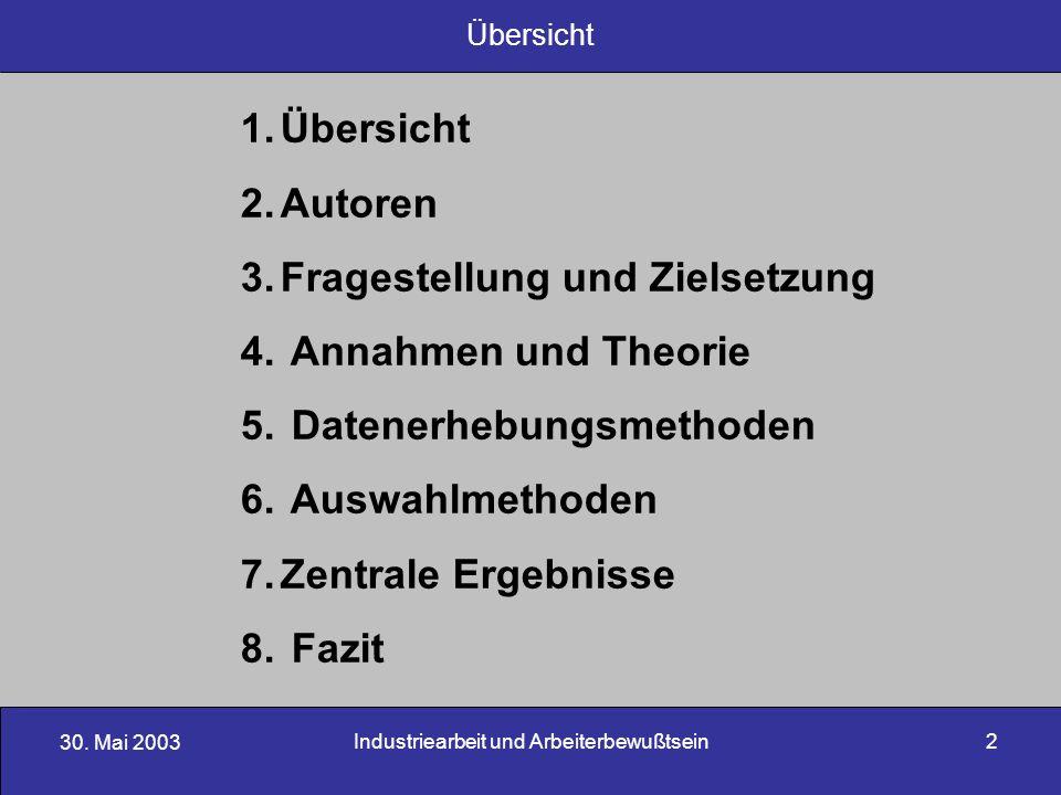 30. Mai 2003 Industriearbeit und Arbeiterbewußtsein2 1.Übersicht 2.Autoren 3.Fragestellung und Zielsetzung 4. Annahmen und Theorie 5. Datenerhebungsme