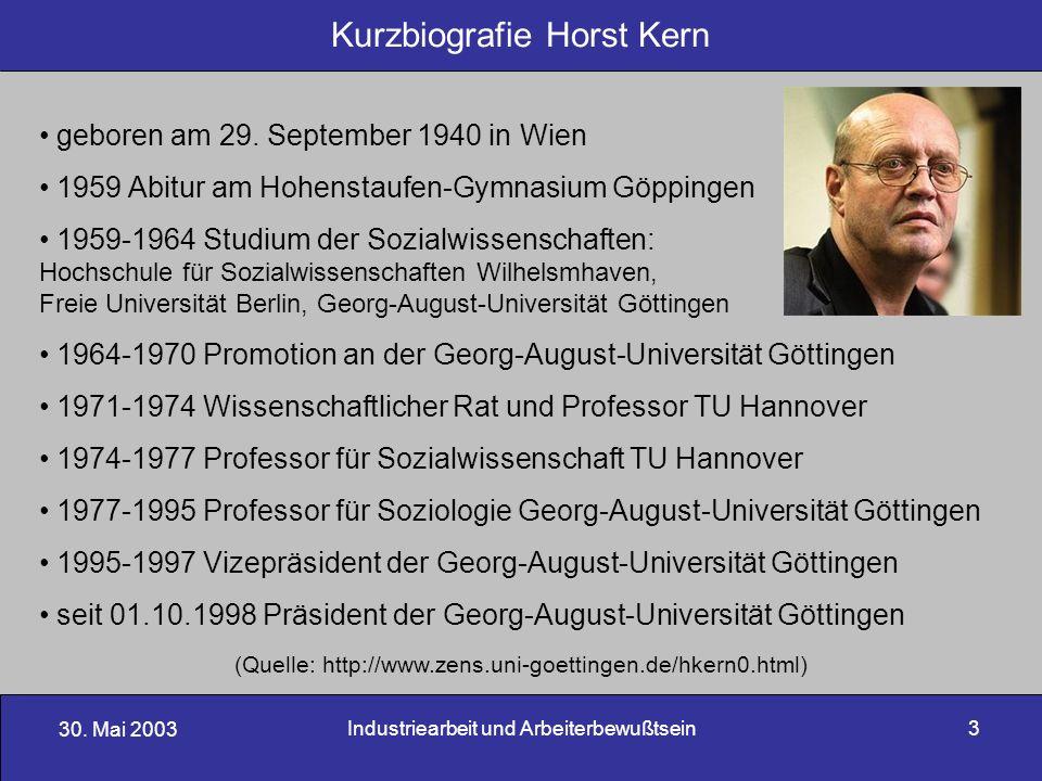 30. Mai 2003 Industriearbeit und Arbeiterbewußtsein3 geboren am 29. September 1940 in Wien 1959 Abitur am Hohenstaufen-Gymnasium Göppingen 1959-1964 S