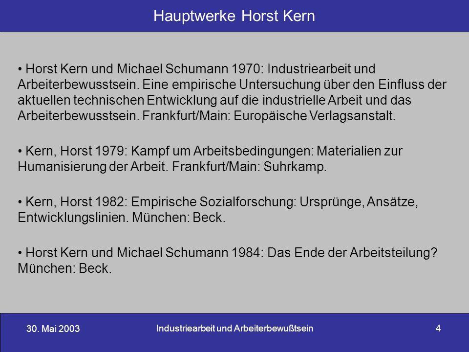30. Mai 2003 Industriearbeit und Arbeiterbewußtsein4 Hauptwerke Horst Kern Horst Kern und Michael Schumann 1970: Industriearbeit und Arbeiterbewusstse