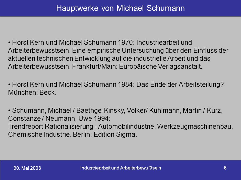 30. Mai 2003 Industriearbeit und Arbeiterbewußtsein6 Hauptwerke von Michael Schumann Horst Kern und Michael Schumann 1970: Industriearbeit und Arbeite