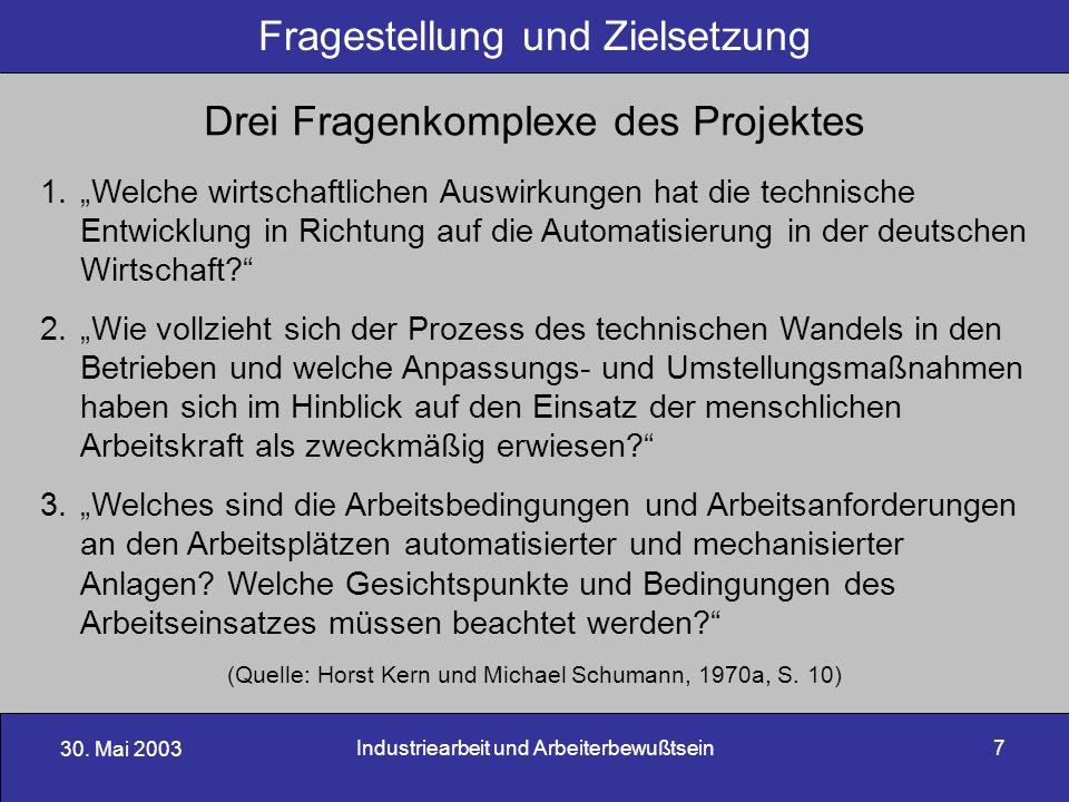 30. Mai 2003 Industriearbeit und Arbeiterbewußtsein7 Fragestellung und Zielsetzung Drei Fragenkomplexe des Projektes 1.Welche wirtschaftlichen Auswirk