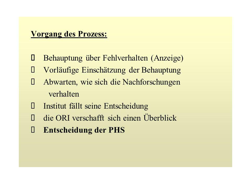 Funktionen: ORI beaufsichtigt und lenkt Foschungsintegrität des PHS im Namen des Sekretary of Health and Human Services mit der Ausnahme der Forschung bei Essen und Drogen.