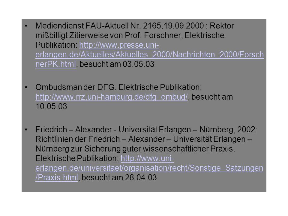 Wissenschaftsgemeinschaft Gottfried Wilhelm Leibniz, 1998: Empfehlungen zur Sicherung guter wissenschaftlicher Praxis in den Instituten der Leibniz – Gemeinschaft.