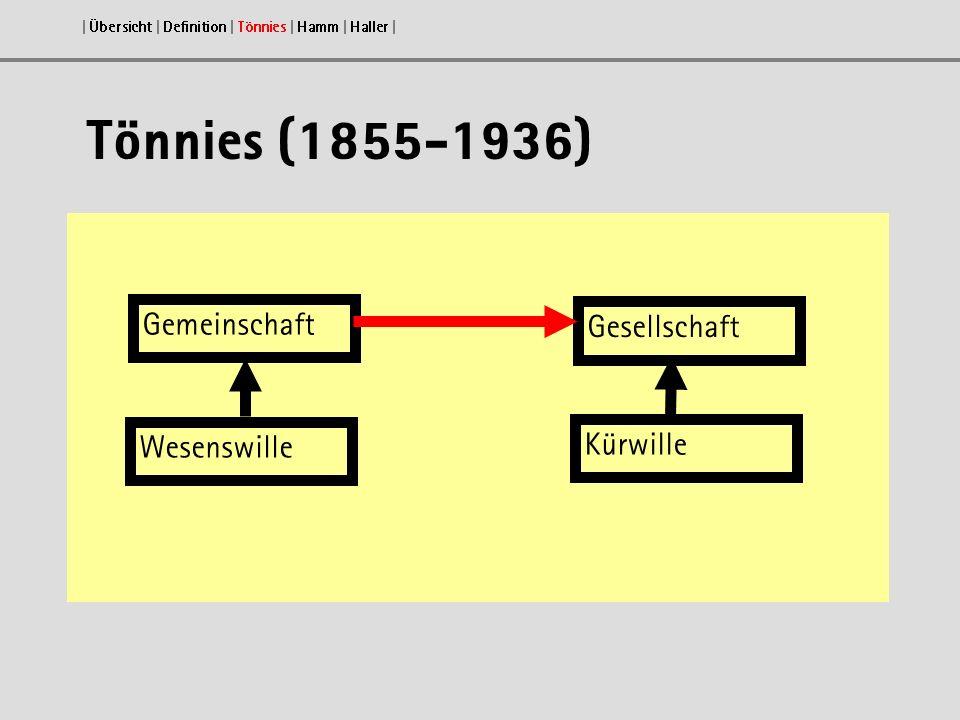 Tönnies (1855-1936) | Übersicht | Definition | Tönnies | Hamm | Haller | Gemeinschaft Gesellschaft Wesenswille Kürwille