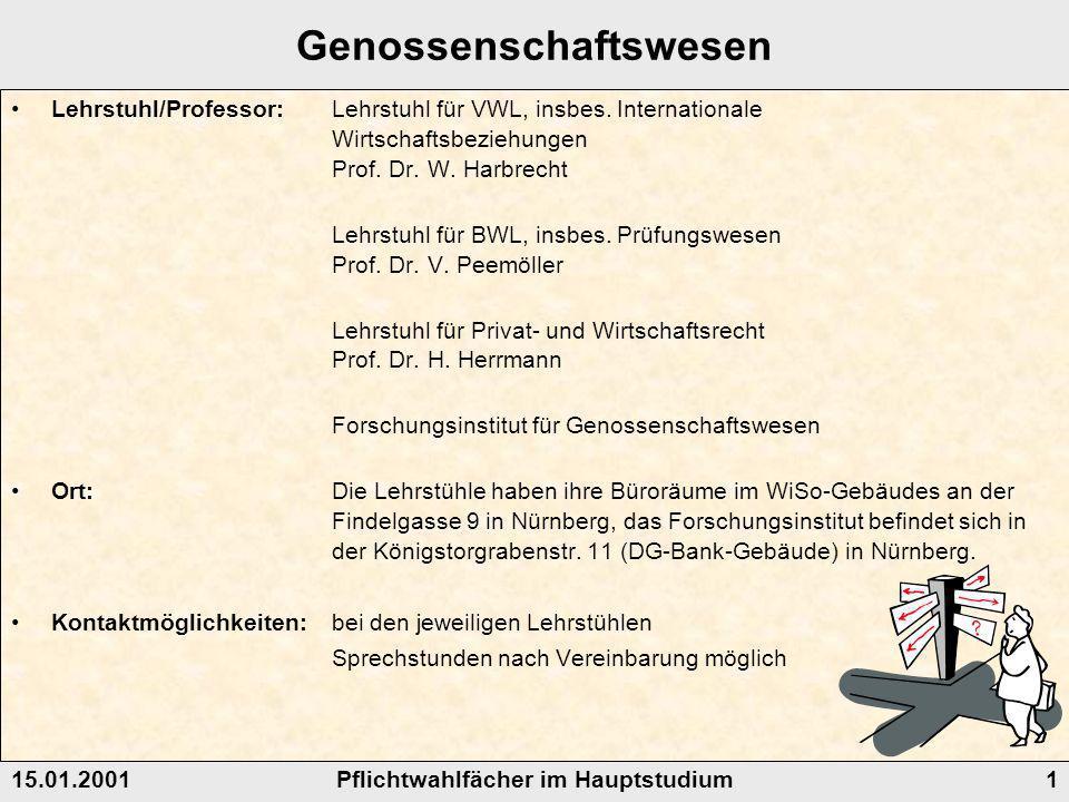 Pflichtwahlfächer im Hauptstudium15.01.20011 Genossenschaftswesen Lehrstuhl/Professor: Lehrstuhl für VWL, insbes.