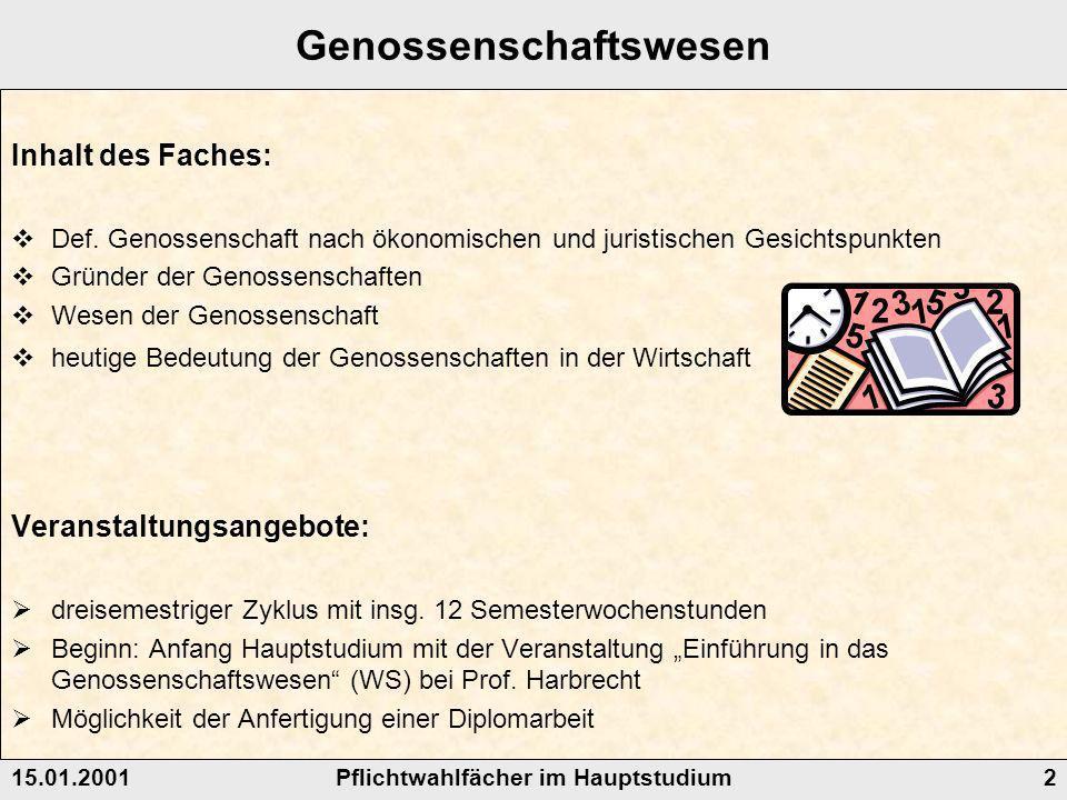 Pflichtwahlfächer im Hauptstudium15.01.20012 Genossenschaftswesen Inhalt des Faches: Def.