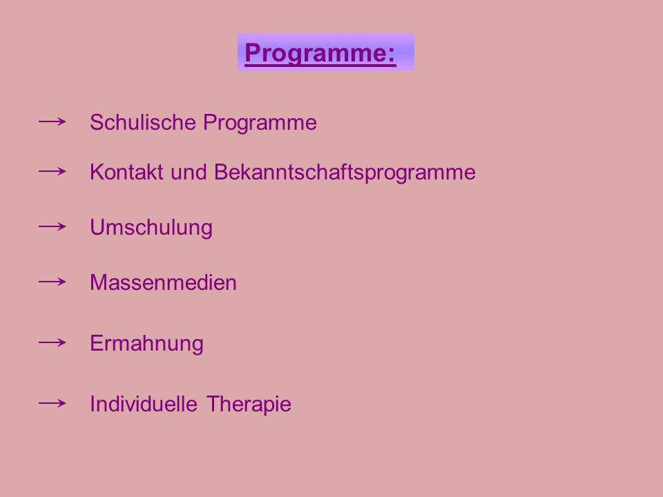 Programme: Schulische Programme Kontakt und Bekanntschaftsprogramme Umschulung Massenmedien Ermahnung Individuelle Therapie
