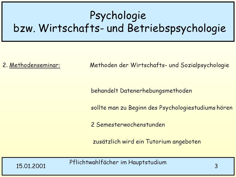 Pflichtwahlfächer im Hauptstudium 315.01.2001 Psychologie bzw. Wirtschafts- und Betriebspsychologie 2. Methodenseminar: Methoden der Wirtschafts- und