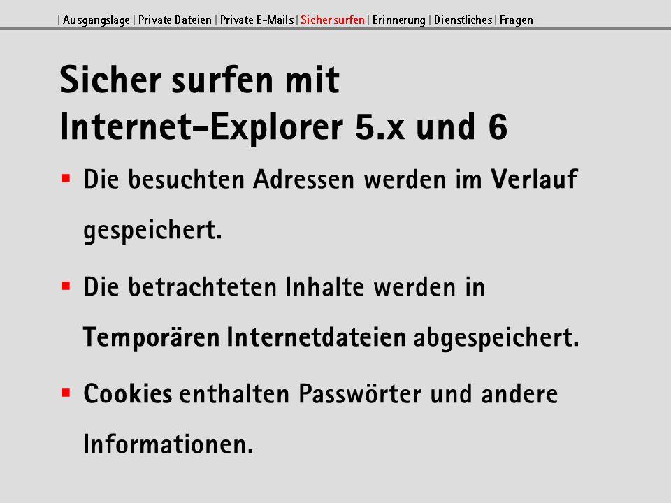 Sicher surfen mit Internet-Explorer 5.x und 6 Die besuchten Adressen werden im Verlauf gespeichert.