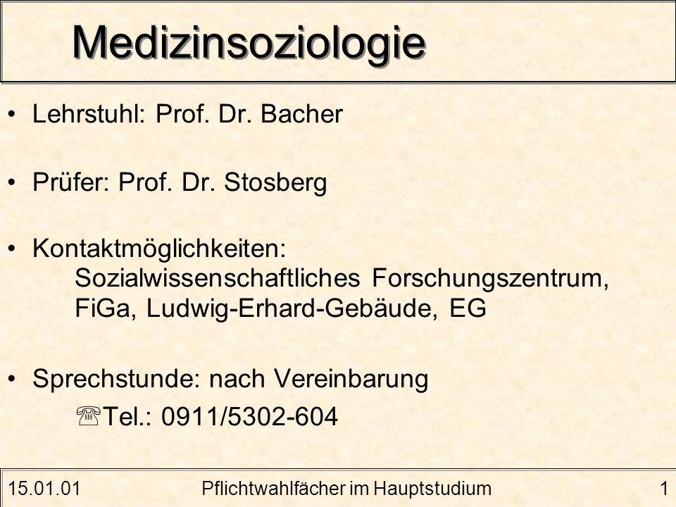 15.01.01Pflichtwahlfächer im Hauptstudium1 Medizinsoziologie Lehrstuhl: Prof. Dr. Bacher Prüfer: Prof. Dr. Stosberg Kontaktmöglichkeiten: Sozialwissen
