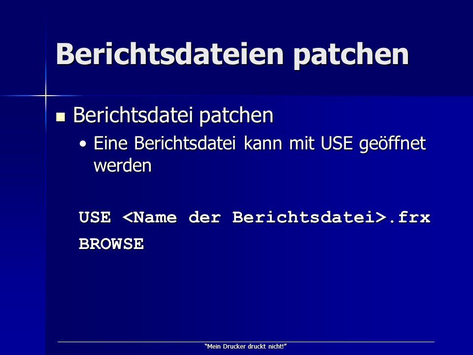Mein Drucker druckt nicht! Berichtsdateien patchen Berichtsdatei patchen Berichtsdatei patchen Eine Berichtsdatei kann mit USE geöffnet werdenEine Ber
