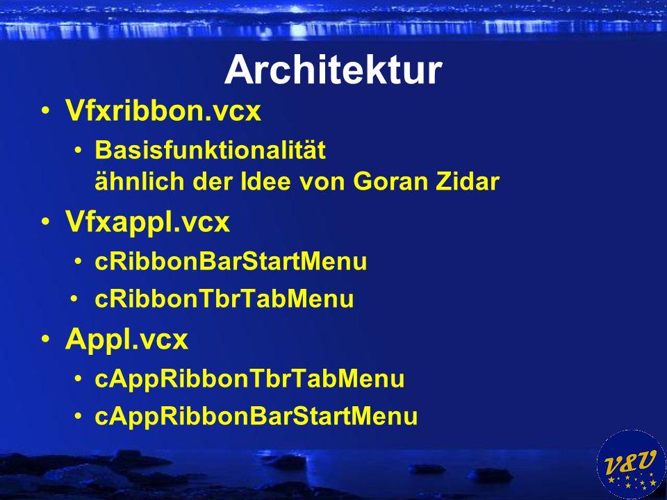 Architektur Vfxribbon.vcx Basisfunktionalität ähnlich der Idee von Goran Zidar Vfxappl.vcx cRibbonBarStartMenu cRibbonTbrTabMenu Appl.vcx cAppRibbonTbrTabMenu cAppRibbonBarStartMenu