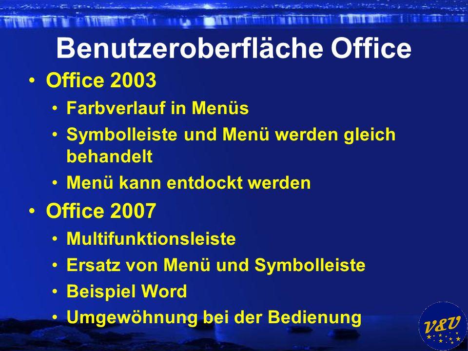 Benutzeroberfläche Office Office 2003 Farbverlauf in Menüs Symbolleiste und Menü werden gleich behandelt Menü kann entdockt werden Office 2007 Multifunktionsleiste Ersatz von Menü und Symbolleiste Beispiel Word Umgewöhnung bei der Bedienung