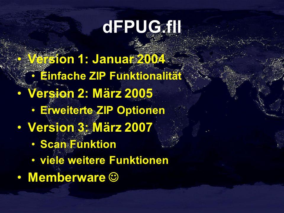 dFPUG.fll Version 1: Januar 2004 Einfache ZIP Funktionalität Version 2: März 2005 Erweiterte ZIP Optionen Version 3: März 2007 Scan Funktion viele weitere Funktionen Memberware