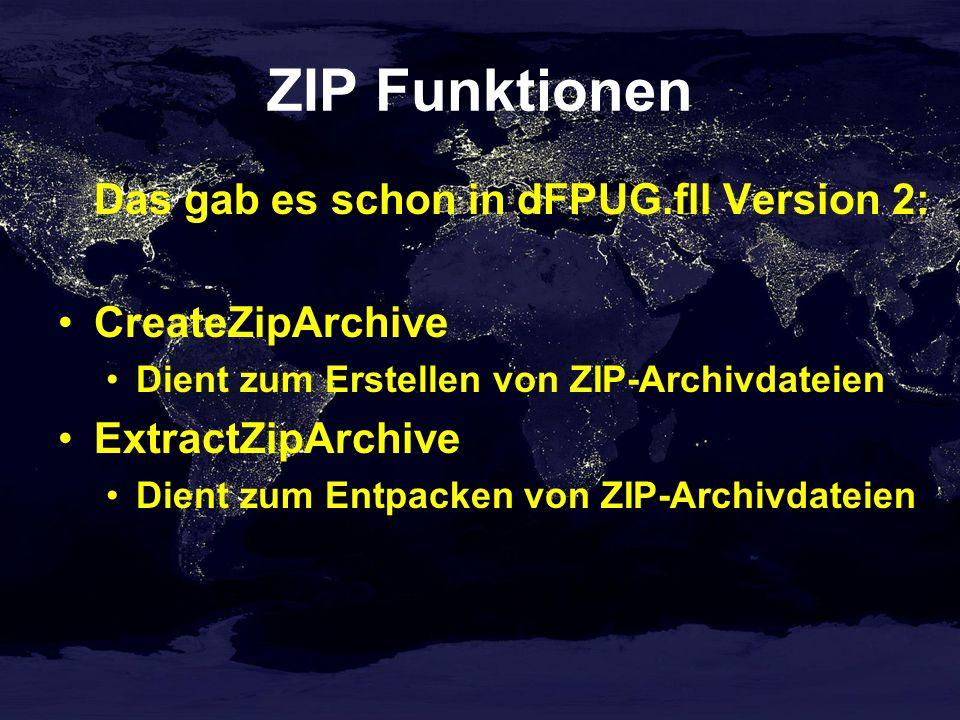 Und das ist neu in Version 3: dfpugInitialize dfpugUninitialize dFPUGFllVersion UrlEscape UrlUnescape GetNullSA RegisterEventSource ReportEvent UnregisterEventSource CheckAdminRights ComputerName UserName GetShortPath GetWinErrorString CrackUrl IsWinNT ShellFolder GetTWAINSources GetTWAINImage
