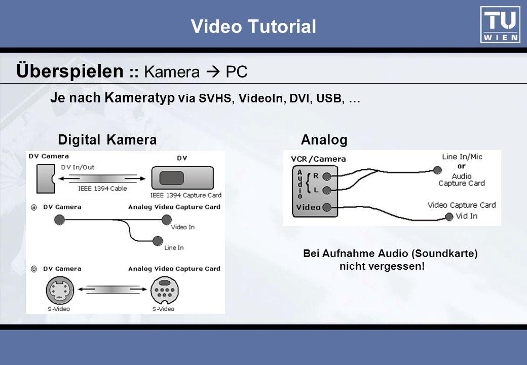Video Tutorial Software der TV-Karte, MovieMaker, usw..