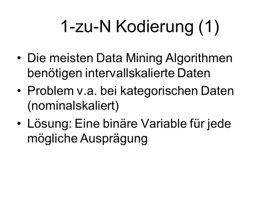 1-zu-N Kodierung (1) Die meisten Data Mining Algorithmen benötigen intervallskalierte Daten Problem v.a. bei kategorischen Daten (nominalskaliert) Lös