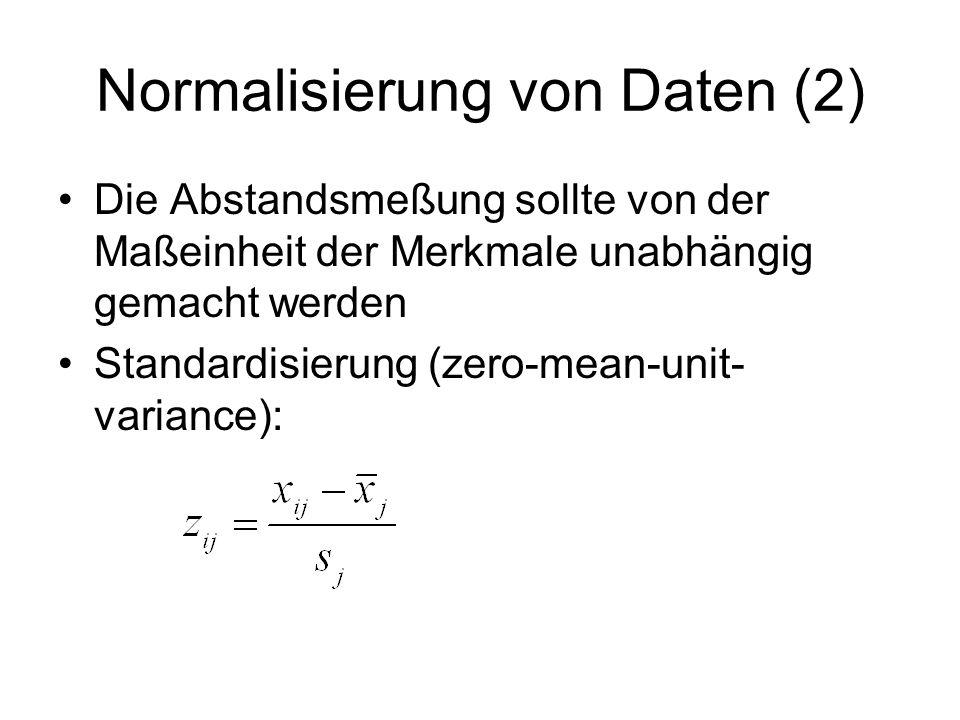 Normalisierung von Daten (2) Die Abstandsmeßung sollte von der Maßeinheit der Merkmale unabhängig gemacht werden Standardisierung (zero-mean-unit- var