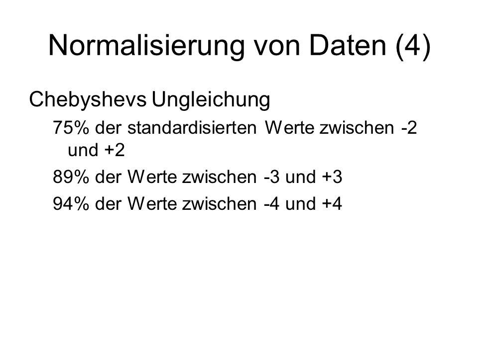 Normalisierung von Daten (4) Chebyshevs Ungleichung 75% der standardisierten Werte zwischen -2 und +2 89% der Werte zwischen -3 und +3 94% der Werte z