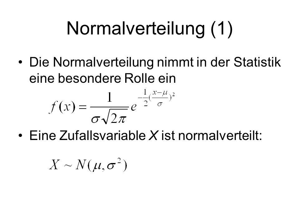 Normalverteilung (1) Die Normalverteilung nimmt in der Statistik eine besondere Rolle ein Eine Zufallsvariable X ist normalverteilt: