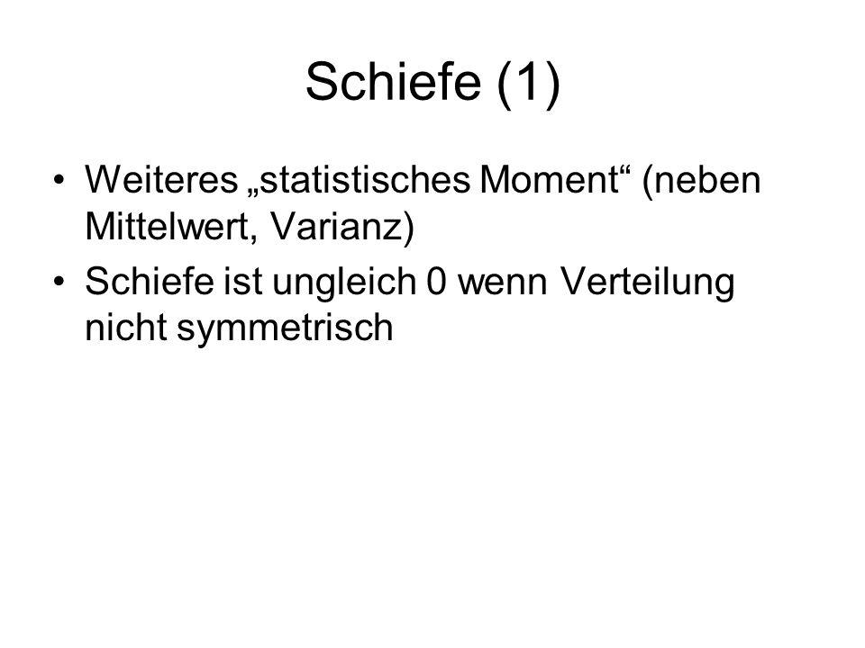 Schiefe (1) Weiteres statistisches Moment (neben Mittelwert, Varianz) Schiefe ist ungleich 0 wenn Verteilung nicht symmetrisch
