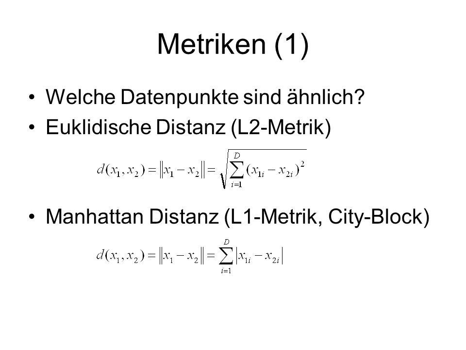 Normalisierung von Daten (1) 1,501,601,701,801,90 40 50 60 70 80 90 100 Gewicht (kg) Größe (m) Abstand = sqrt(0,3^2 + 45^2) = sqrt(2025,09) = 45 45 0,3