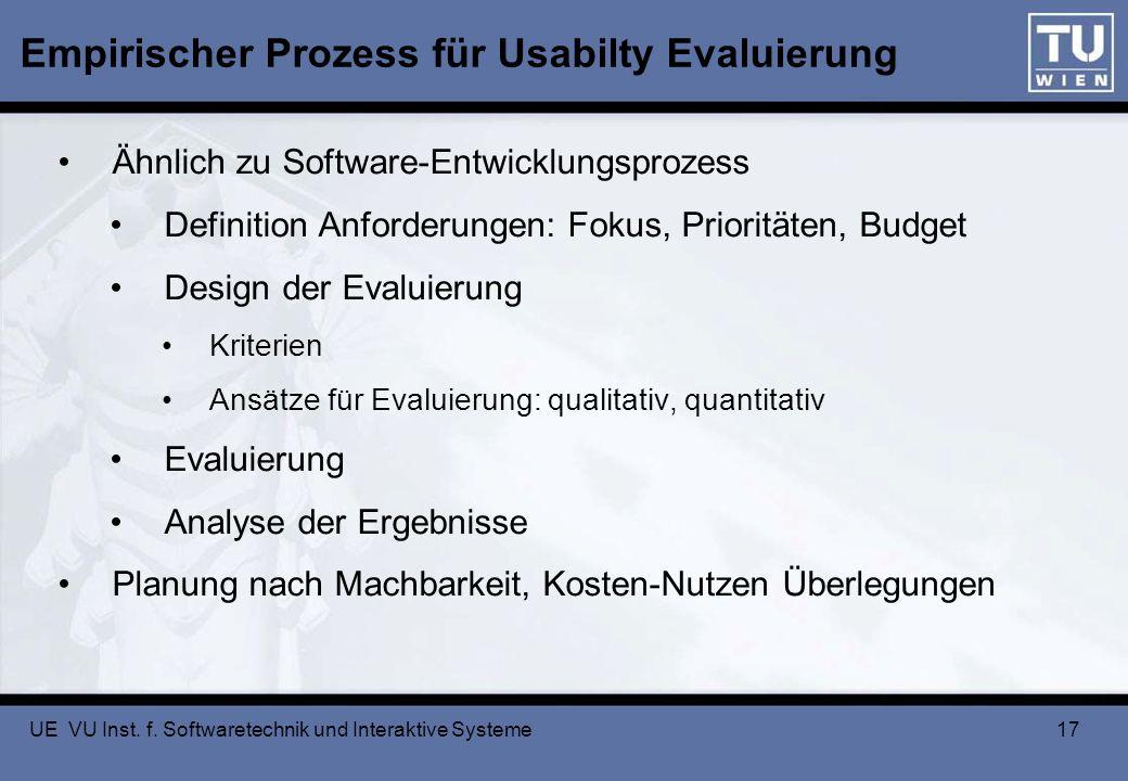 UE VU Inst. f. Softwaretechnik und Interaktive Systeme 17 Empirischer Prozess für Usabilty Evaluierung Ähnlich zu Software-Entwicklungsprozess Definit