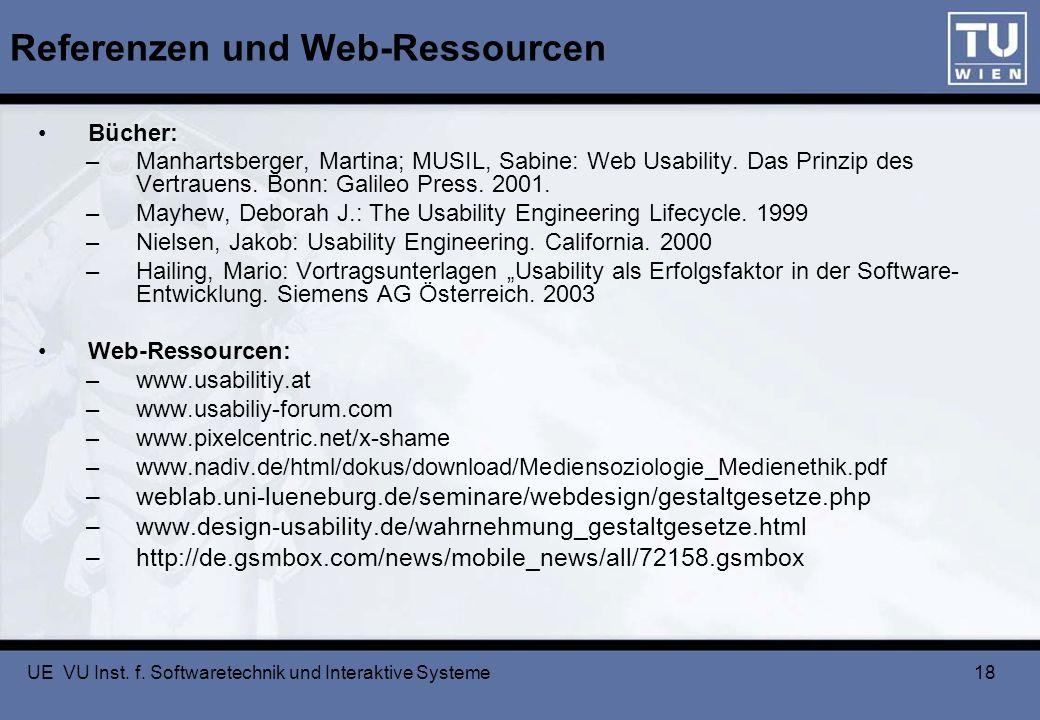 UE VU Inst. f. Softwaretechnik und Interaktive Systeme 18 Referenzen und Web-Ressourcen Bücher: –Manhartsberger, Martina; MUSIL, Sabine: Web Usability