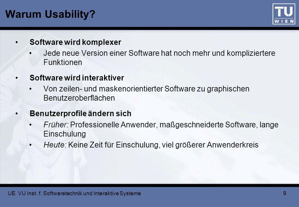 UE VU Inst. f. Softwaretechnik und Interaktive Systeme 9 Warum Usability? Software wird komplexer Jede neue Version einer Software hat noch mehr und k