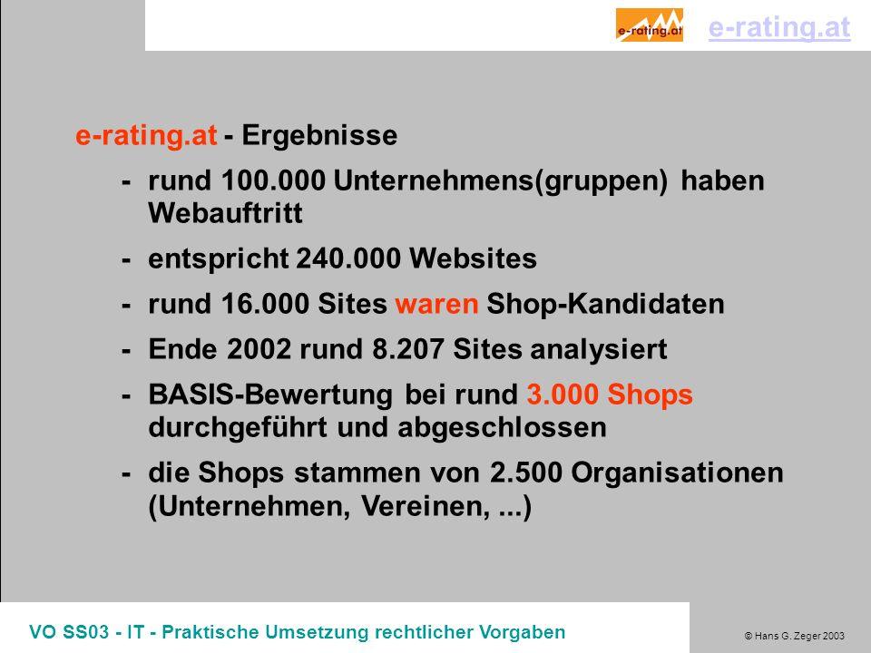 © Hans G. Zeger 2003 VO SS03 - IT - Praktische Umsetzung rechtlicher Vorgaben e-rating.at - Ergebnisse -rund 100.000 Unternehmens(gruppen) haben Webau