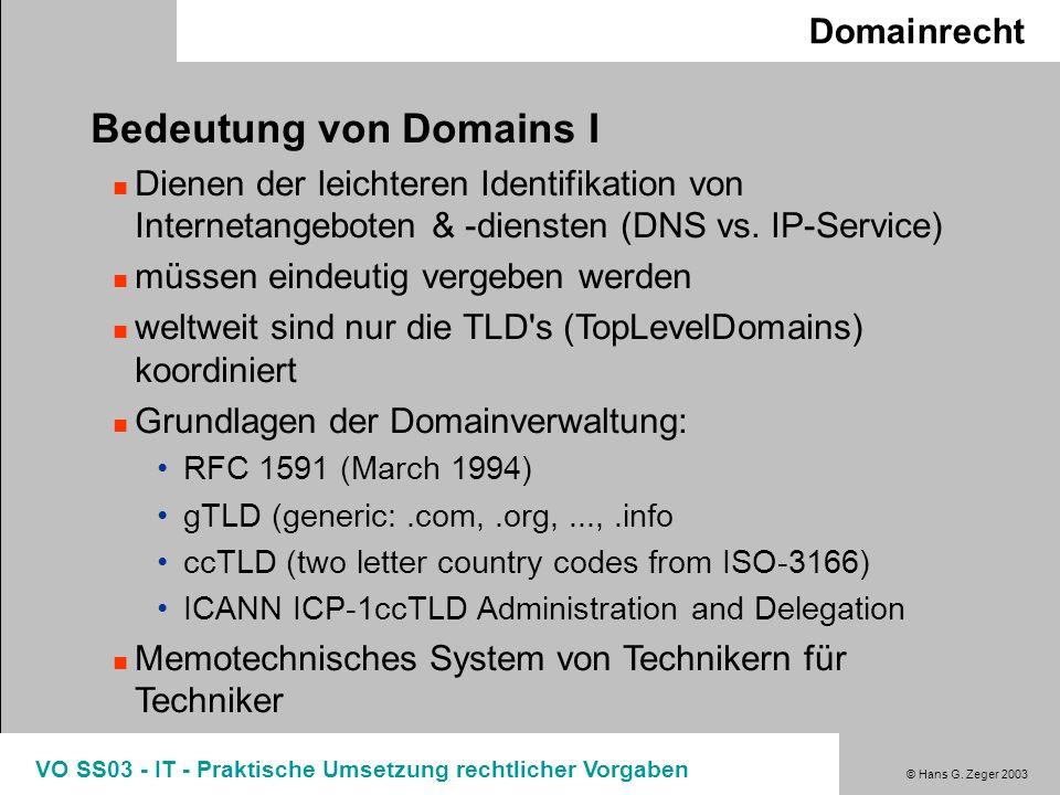 © Hans G. Zeger 2003 VO SS03 - IT - Praktische Umsetzung rechtlicher Vorgaben Domainrecht Bedeutung von Domains I Dienen der leichteren Identifikation