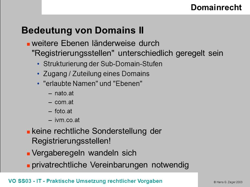 © Hans G. Zeger 2003 VO SS03 - IT - Praktische Umsetzung rechtlicher Vorgaben Domainrecht Bedeutung von Domains II weitere Ebenen länderweise durch