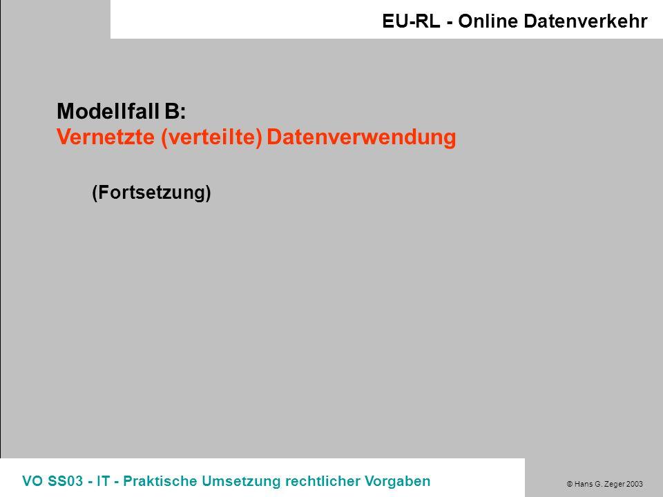 © Hans G. Zeger 2003 VO SS03 - IT - Praktische Umsetzung rechtlicher Vorgaben EU-RL - Online Datenverkehr Modellfall B: Vernetzte (verteilte) Datenver