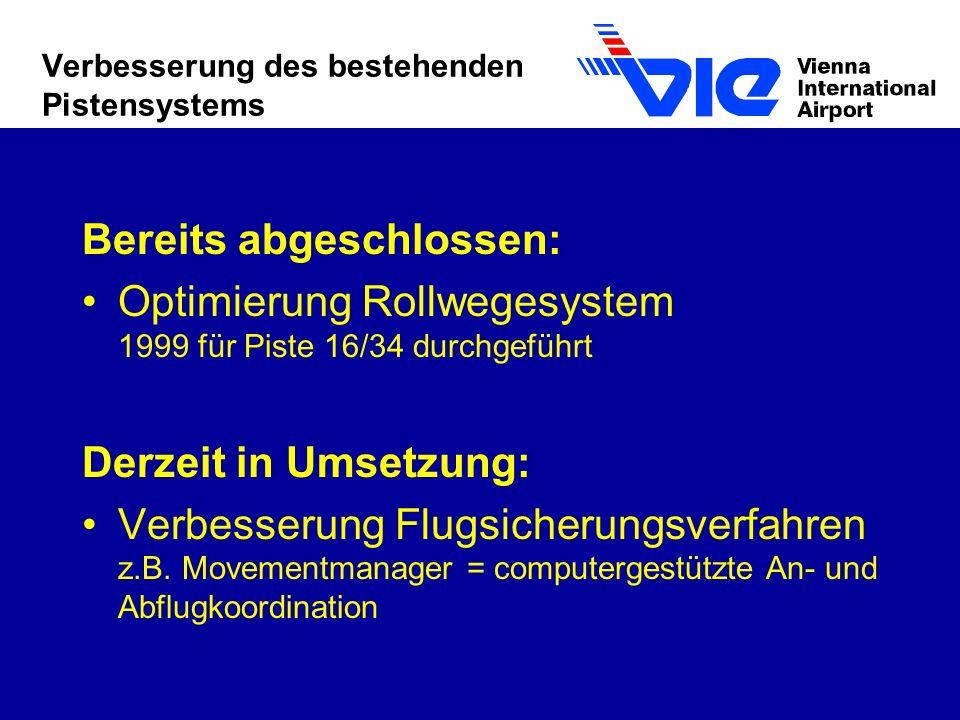 Verbesserung des bestehenden Pistensystems Bereits abgeschlossen: Optimierung Rollwegesystem 1999 für Piste 16/34 durchgeführt Derzeit in Umsetzung: Verbesserung Flugsicherungsverfahren z.B.