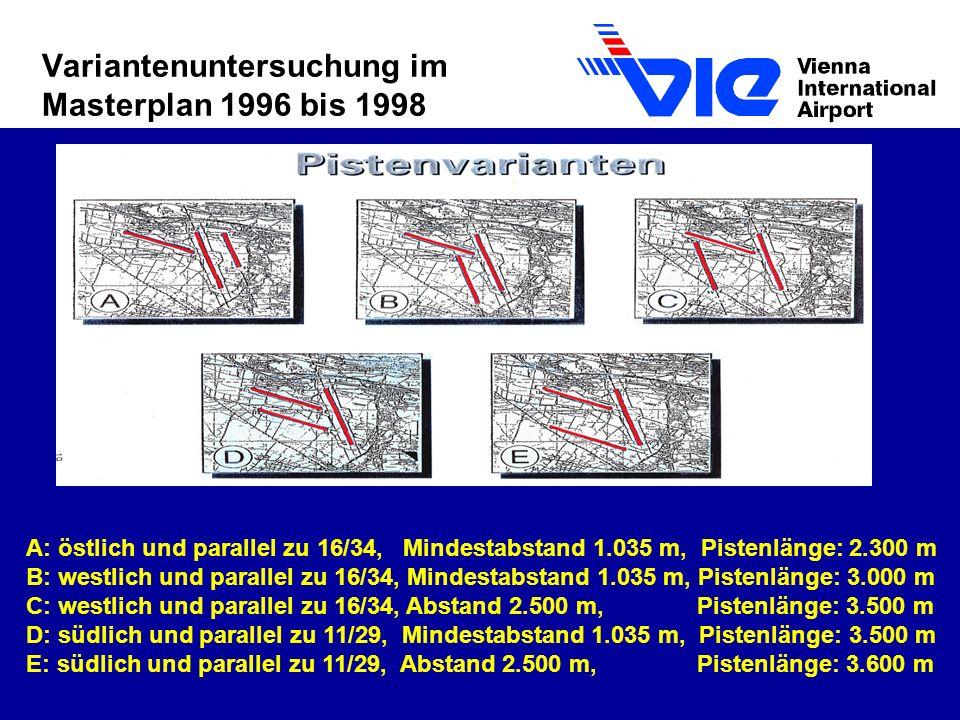 Variantenuntersuchung im Masterplan 1996 bis 1998 A: östlich und parallel zu 16/34, Mindestabstand 1.035 m, Pistenlänge: 2.300 m B: westlich und parallel zu 16/34, Mindestabstand 1.035 m, Pistenlänge: 3.000 m C: westlich und parallel zu 16/34, Abstand 2.500 m, Pistenlänge: 3.500 m D: südlich und parallel zu 11/29, Mindestabstand 1.035 m, Pistenlänge: 3.500 m E: südlich und parallel zu 11/29, Abstand 2.500 m, Pistenlänge: 3.600 m