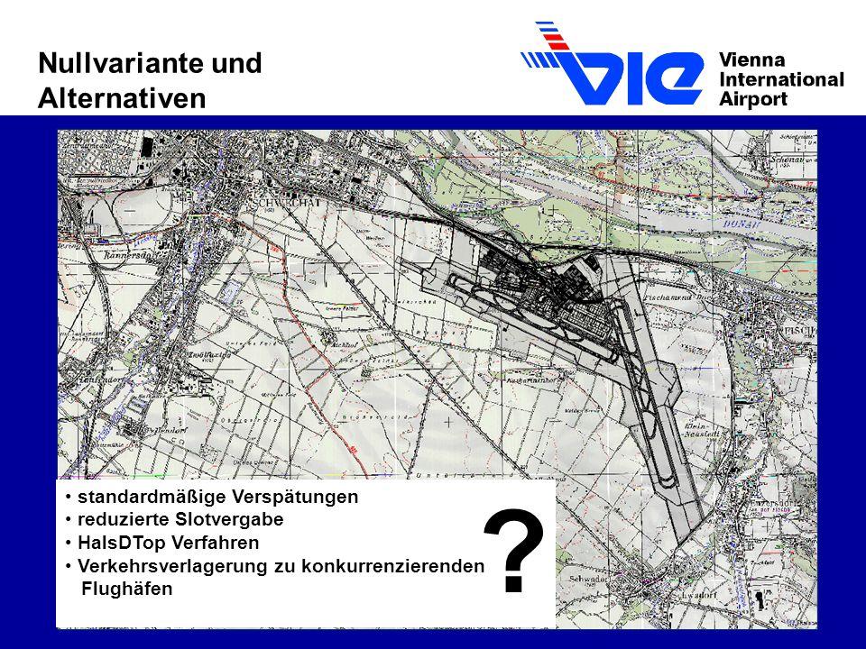 Nullvariante und Alternativen standardmäßige Verspätungen reduzierte Slotvergabe HalsDTop Verfahren Verkehrsverlagerung zu konkurrenzierenden Flughäfen ?