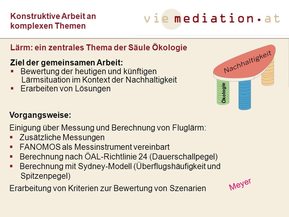 Konstruktive Arbeit an komplexen Themen Ziel der gemeinsamen Arbeit: Bewertung der heutigen und künftigen Lärmsituation im Kontext der Nachhaltigkeit