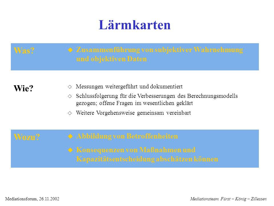 Mediationsteam Fürst – König – ZillessenMediationsforum, 26.11.2002 Lärmkarten Abbildung von Betroffenheiten Konsequenzen von Maßnahmen und Kapazitätsentscheidung abschätzen können Was.