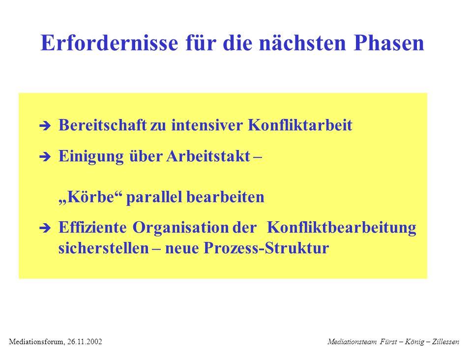 Mediationsteam Fürst – König – ZillessenMediationsforum, 26.11.2002 MF NEU Neue Prozess-Struktur AG