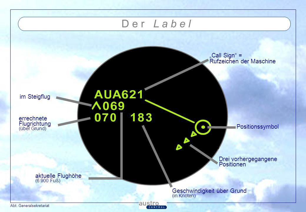 Abt. Generalsekretariat D e r L a b e l im Steigflug Call Sign = Rufzeichen der Maschine errechnete Flugrichtung (über Grund) aktuelle Flughöhe (6.900
