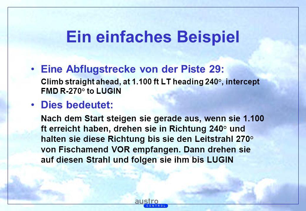 Abt. Generalsekretariat Ein einfaches Beispiel Eine Abflugstrecke von der Piste 29: Climb straight ahead, at 1.100 ft LT heading 240°, intercept FMD R