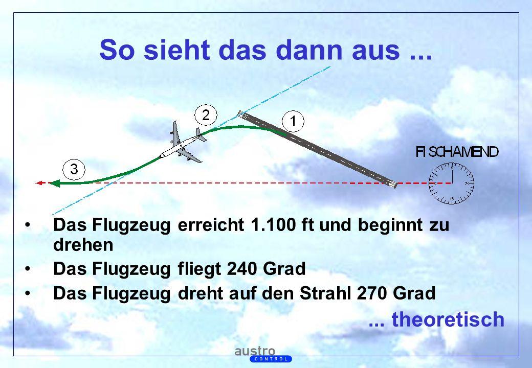 Abt. Generalsekretariat So sieht das dann aus... Das Flugzeug erreicht 1.100 ft und beginnt zu drehen Das Flugzeug fliegt 240 Grad Das Flugzeug dreht